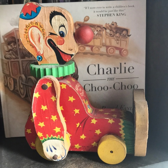 Antique Fisher Price 777 Squeaky the Clown wooden